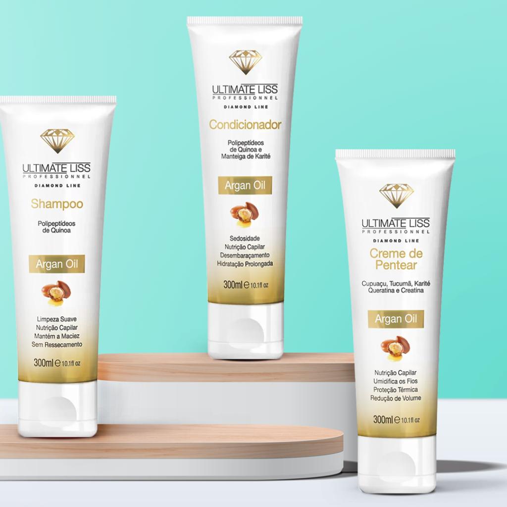 Shampoo, Condicionador e Creme de Pentear Argan Oil Ultimate Liss