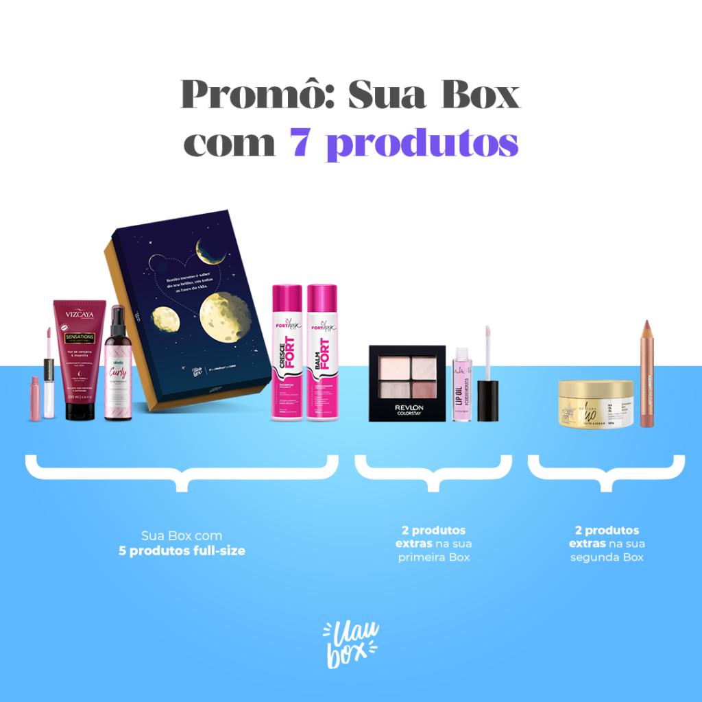 """Demonstrativo da mecânica da promoção """"Sua Box com 7 produtos"""""""