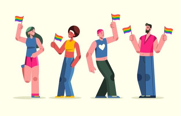 Ilustração de quatro pessoas comemorando o dia do orgulho LGBTQIA+