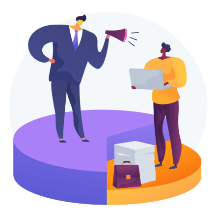 Ilustração que mostra um chefe assediando verbal e moralmente um funcionário.