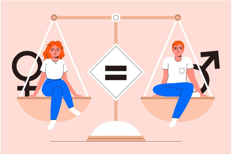Ilustração de um homem e uma mulher sentados em uma balança por igualdade