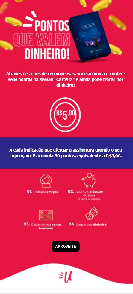 Infográfico rosa, com detalhes em amarelo, azul e branco, com informações sobre a troca de pontos por dinheiro na carteira da UAU.